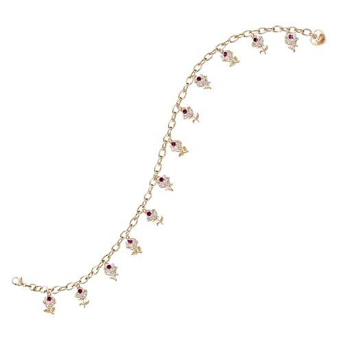 'A Dozen Roses' Ruby Charm Bracelet