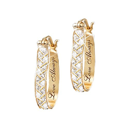 'For Love, Always' Engraved Diamond Earrings