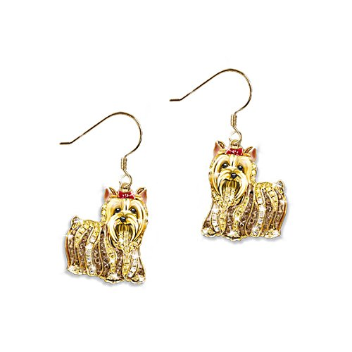 'Best In Show' Yorkie Dog Swarovski® Crystal Earrings