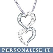'Loving Hearts' Personalised Diamond Pendant