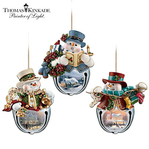 Thomas Kinkade 'Christmas Bells' Snowman Bell Ornaments