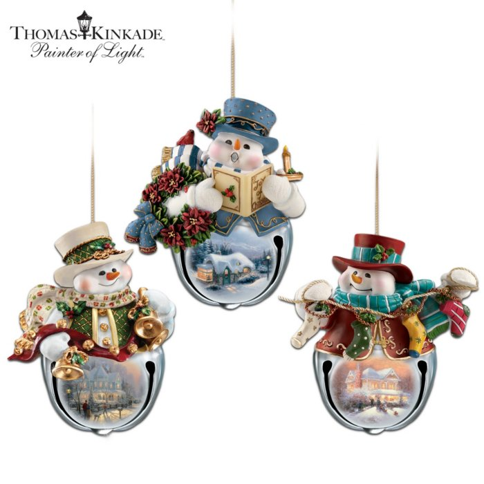 Thomas Kinkade Christmas Bells Snowman Bell Ornaments