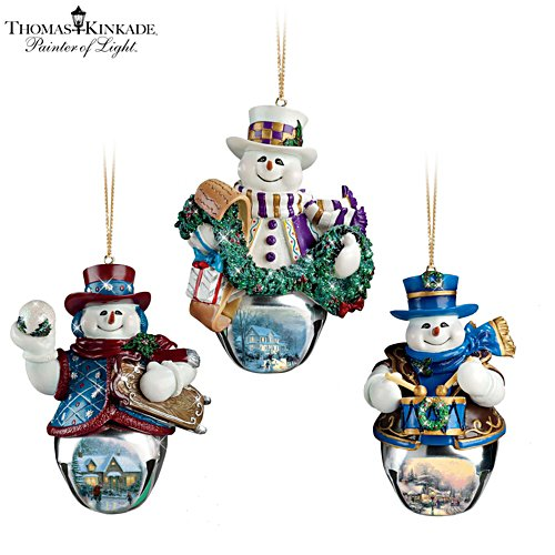 Thomas Kinkade 'Christmas Bells' Snowman Bell Ornaments 2