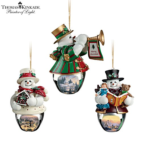 Thomas Kinkade 'Christmas Bells' Snowman Bell Ornaments 3