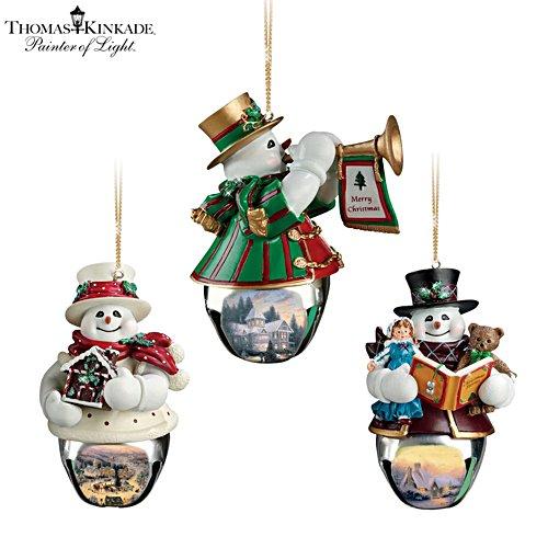 Thomas Kinkade 'Christmas Bells' Snowman Bell Ornaments 3