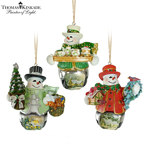 Thomas Kinkade 'Christmas Bells' Snowman Bell Ornaments 4