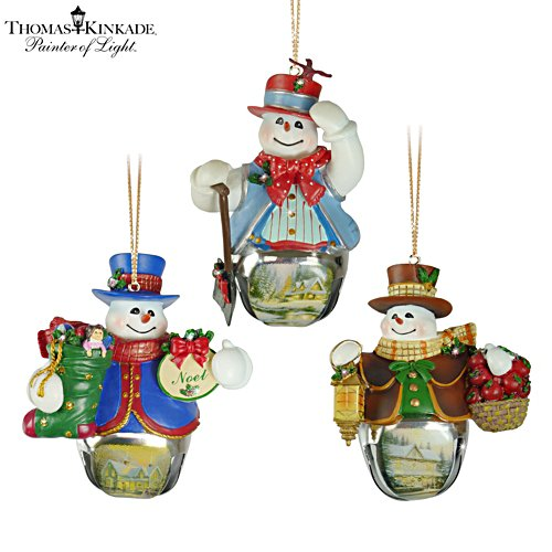 Thomas Kinkade 'Christmas Bells' Snowman Bell Ornaments 5