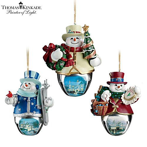 Thomas Kinkade 'Christmas Bells' Snowman Bell Ornaments 6