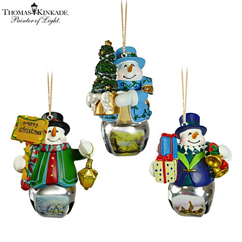 Thomas Kinkade 'Christmas Bells' Snowman Bell Ornaments 7