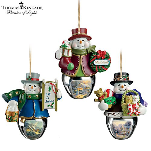 Thomas Kinkade 'Christmas Bells' Snowman Bell Ornaments 8