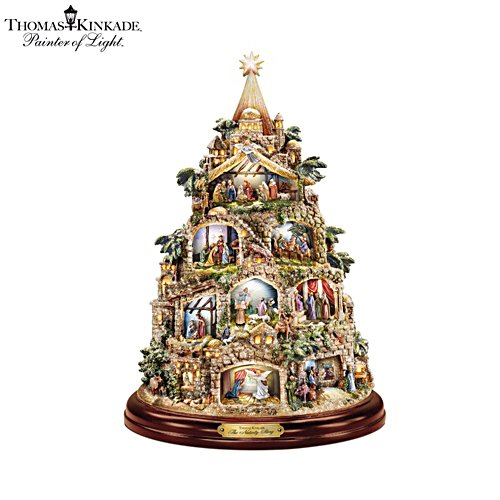 Thomas Kinkade 'The Nativity' Tree Tabletop Centrepiece