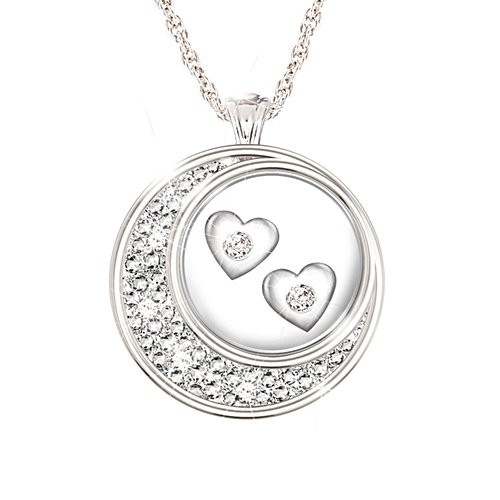 'Floating Diamond Hearts' Silver-Plated Pendant
