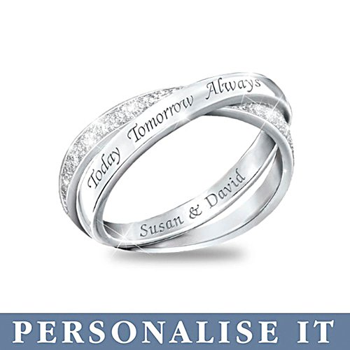 'Today, Tomorrow And Always' Diamond Infinity Personalised Ring