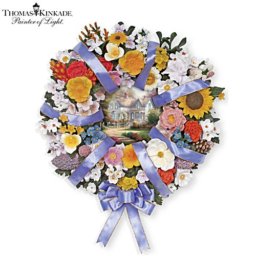 Thomas Kinkade State Flower Art Wreath