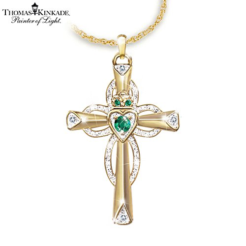 Thomas Kinkade Emerald & Diamond Claddagh Pendant