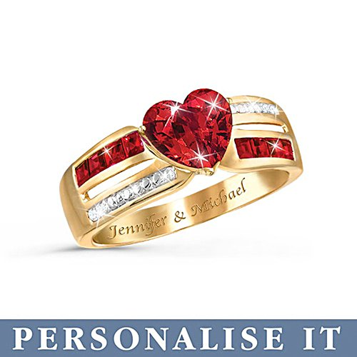 'Ribbons Of Love' Personalised Garnet Ring