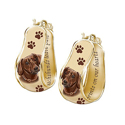 'My Loyal Dachshund' Art Cuff Earrings