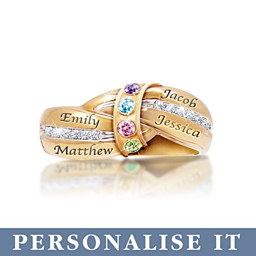 'A Mother's Embrace' Gold Personalised Birthstone Ring