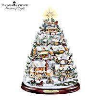 Thomas Kinkade Illuminated Musical Village Tabletop Tree