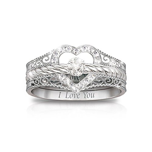 'I Love You' Diamond Stacking Rings