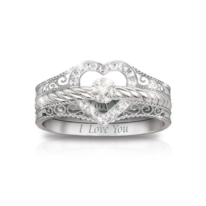 I Love You Diamond Stacking Rings