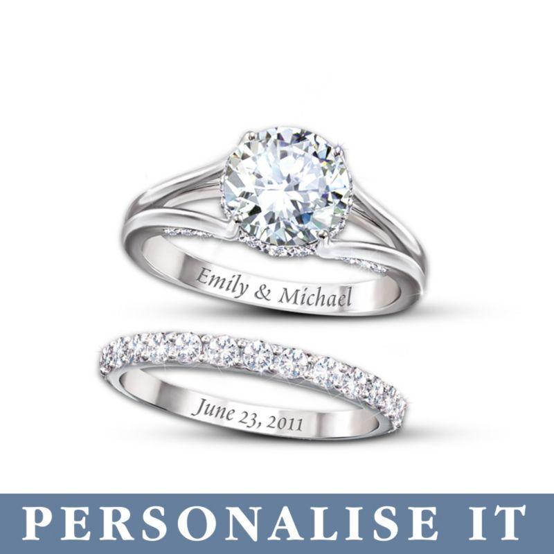 Personalised Diamonesk Bridal Ladies Ring Set Diamonesk