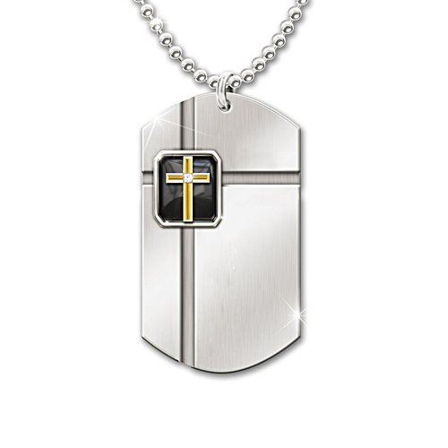 'The Lord's Prayer' Diamond And Onyx Dog Tag Pendant