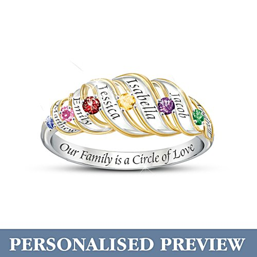 'Our Family Is A Circle Of Love' Personalised Ring