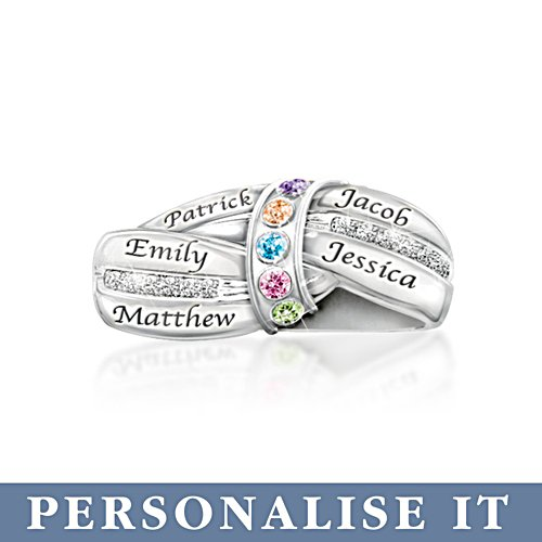 'A Mother's Embrace' Silver Personalised Birthstone Ring