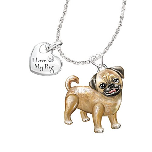'Playful Pup' Pug Diamond Pendant