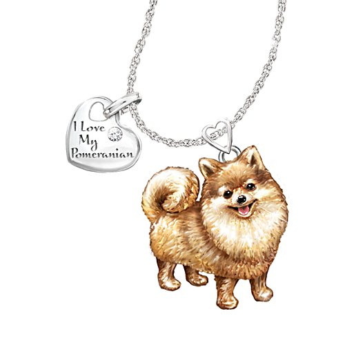 'Playful Pup' Pomeranian Diamond Pendant
