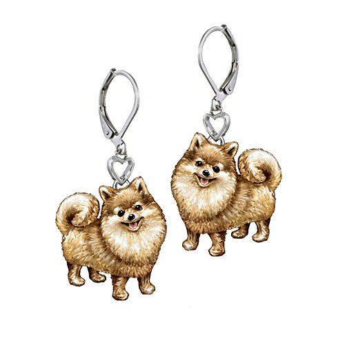 'Playful Pup' Pomeranian Earrings