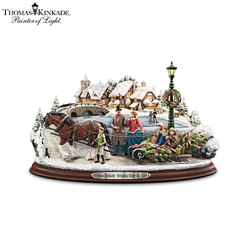 Thomas Kinkade 'Bringing Home The Tree' Sculpture