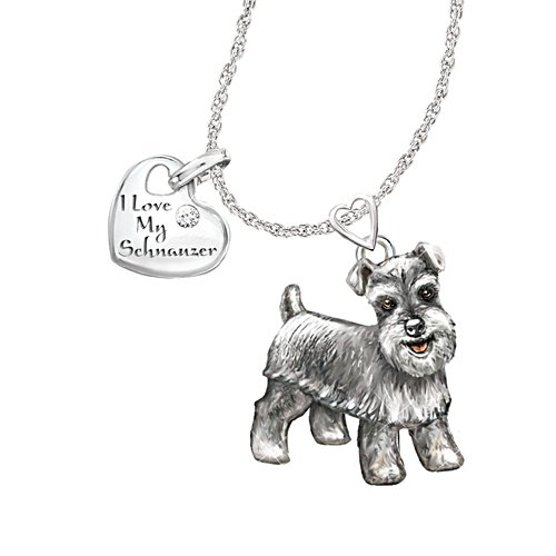 'Playful Pup' Schnauzer Diamond Pendant