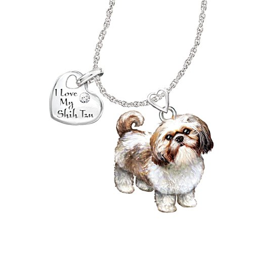 'Playful Pup' Shih Tzu Diamond Pendant