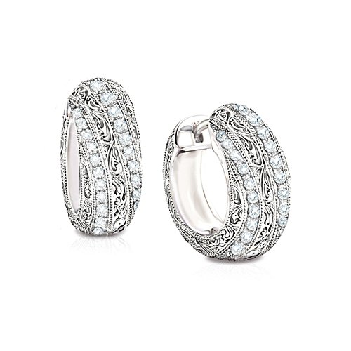'Diamond Elegance' 12-Diamond Hoop Earrings