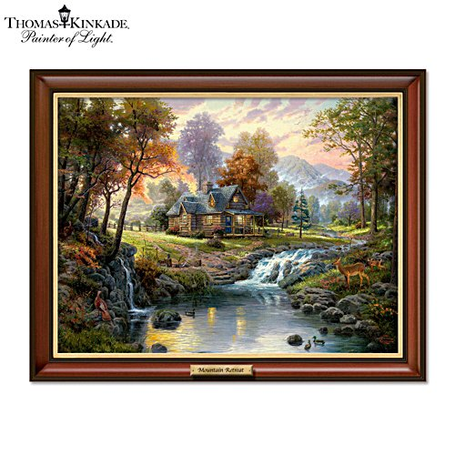 Thomas Kinkade 'Mountain Retreat' Illuminated Canvas Print
