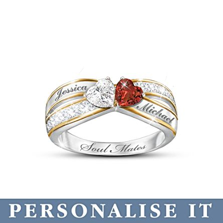 'Two Hearts Become Soul Mates' Personalised Ring