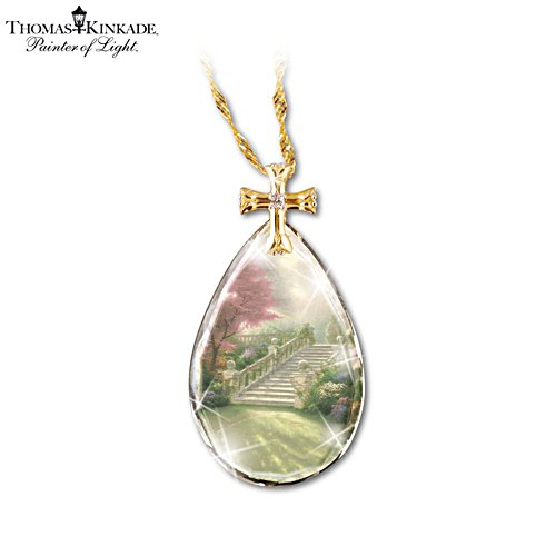 Thomas Kinkade 'Stairway To Heaven' Teardrop Pendant