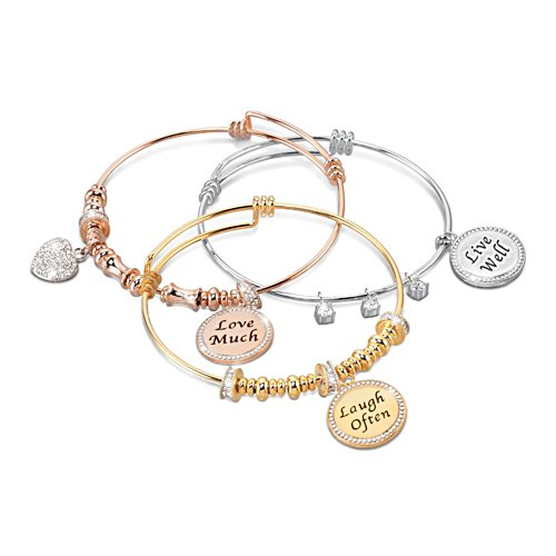 'Live Well, Love Much, Laugh Often' Tri-Colour Bracelet Set
