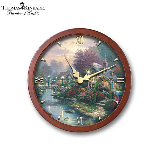 Thomas Kinkade 'Lamplight Bridge' Illuminated Stained-Glass Wall Clock