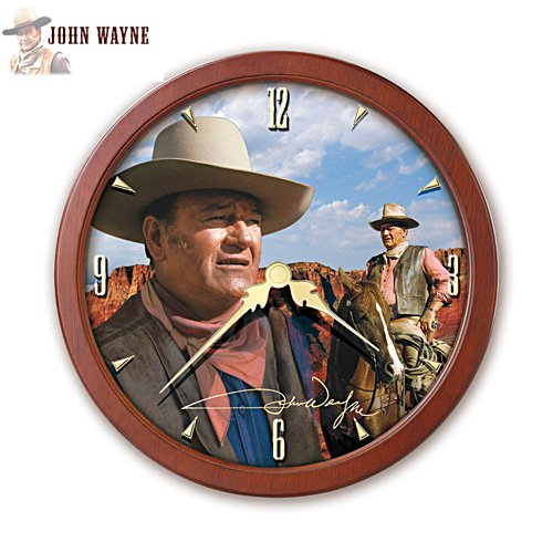 John Wayne 'The Duke' Stained Glass Wall Clock