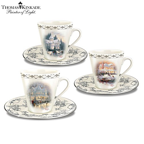 Thomas Kinkade 'Winter Elegance' Teacup And Saucer Set