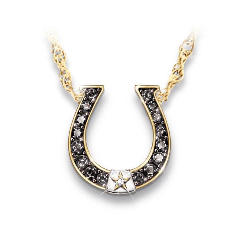 Black Beauty Sapphire And Diamond Horseshoe Necklace