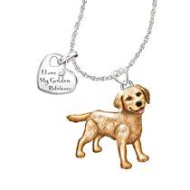'Playful Pup' Golden Retriever Diamond Pendant