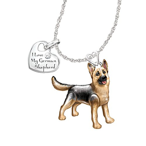 'Playful Pup' German Shepherd Diamond Pendant