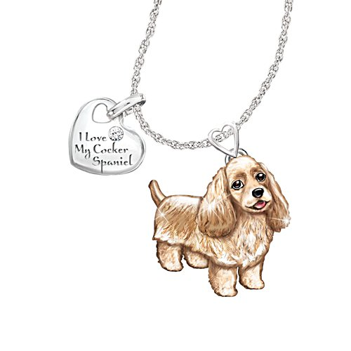 'Cocker Spaniel' Playful Pup Diamond Ladies' Pendant