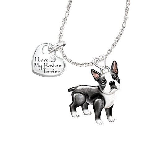 'Playful Pup' Boston Terrier Diamond Pendant