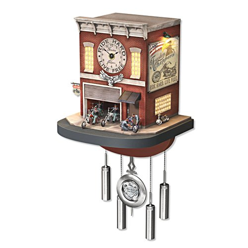 'Freedom Choppers' Motorcycle Garage Cuckoo Clock