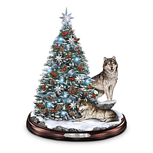 Al Agnew 'Winter's Majesty' Wolf Tabletop Christmas Tree